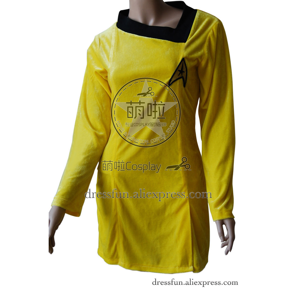 Star Trek Cosplay TOS Female New Gold Skant Dress Uniform Suit Outfits Halloween Fashion Party Fast Shipping
