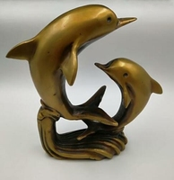Chinese Old Hand Engraving Brass Marine Animal Dolphins Home Furnishing Decoration Statues