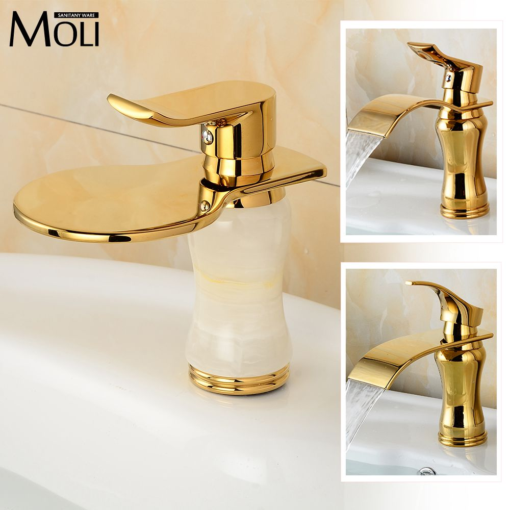 Solid Brass Gold Plated Basin mixer Modern gold finish faucet waterfall bathroom faucetsSolid Brass Gold Plated Basin mixer Modern gold finish faucet waterfall bathroom faucets
