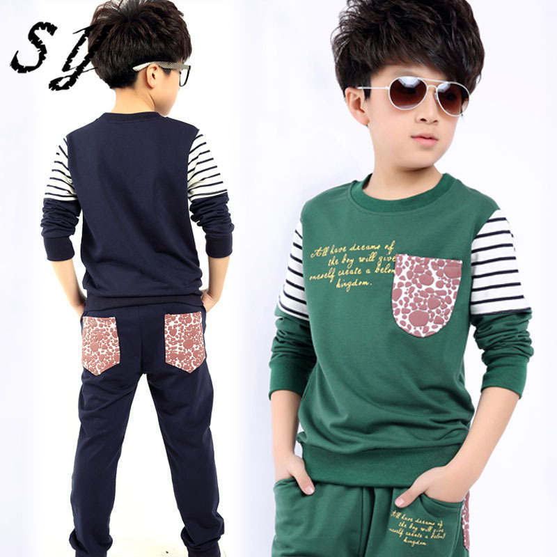 2015 Fashion Kids Autumn Teenage Boy Clothing Sets Spring