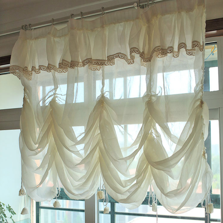 Morden beautiful American finished lace balloon sheer tulle curtain tyra balcony curtain for window beige cortinas