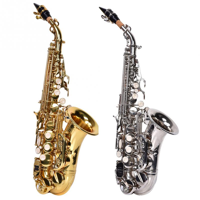 Slade Soprano Saxophone Lightweight High Quality B flat Brass Saxophone Musical Curved Horn Sax Instrument with Bag Strap Kit free shipping new high quality tenor saxophone france r54 b flat black gold nickel professional musical instruments