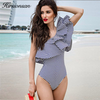 Hirsionsan Sexy Ruffle Bodysuit Women One Shoulder Striped Jumpsuit Summer Party Beach Overalls Fitness Bodysuits Rompers