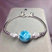 Natural Downey Mega Sea Stone Turtle Tattoo Stone Round Bead Bracelet 925 SilverBracelet Moonlight Stone Ornaments14mm