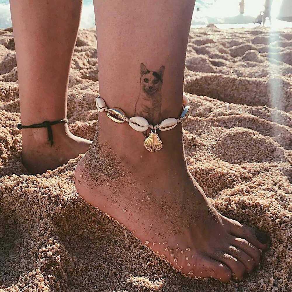 Каури кожа Пука в виде ракушки Винтаж ножные браслеты для женщин деревянный бисер Йога талисманы ножной браслет девушка ювелирные изделия дропшиппинг