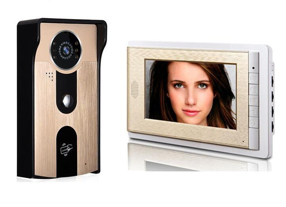 Doeltreffend 7 Inch Lcd-scherm 700tvl Cmos Id-kaart Toegangscontrole Video Deurtelefoon Aantrekkelijk Uiterlijk
