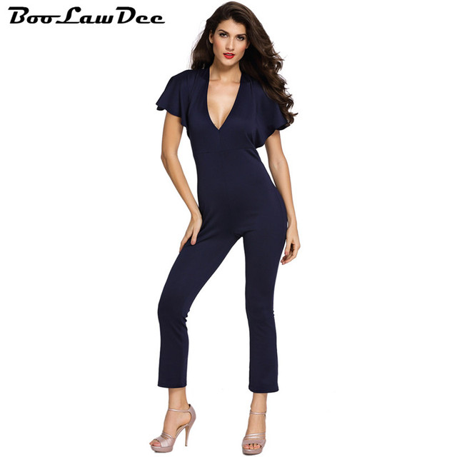 BooLawDee Cape Sleeve Sexy V neck Backless Bodycon Jumpsuit Summer Women overalls combinaison femme black blue red 1B120