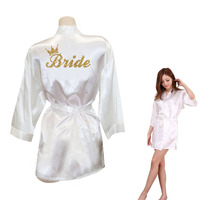 Bride Crown Team Bride Golden Glitter Print Kimono Robes Faux Silk Women Bachelorette Wedding Preparewear Free
