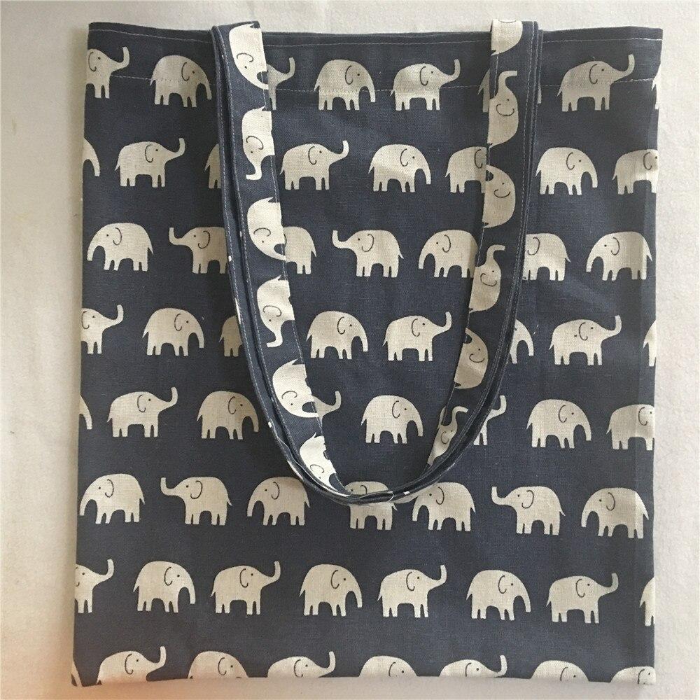 YILE Cotton Linen Casual Shopping Tote Shoulder Bag Print Elephant Navy Blue  Handmade NEW L18105b