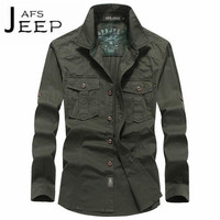 AFS JEEP 2017 Autumn Military Style Man S 100 Cotton Solid Full Sleeve Shirt Chest Pockets