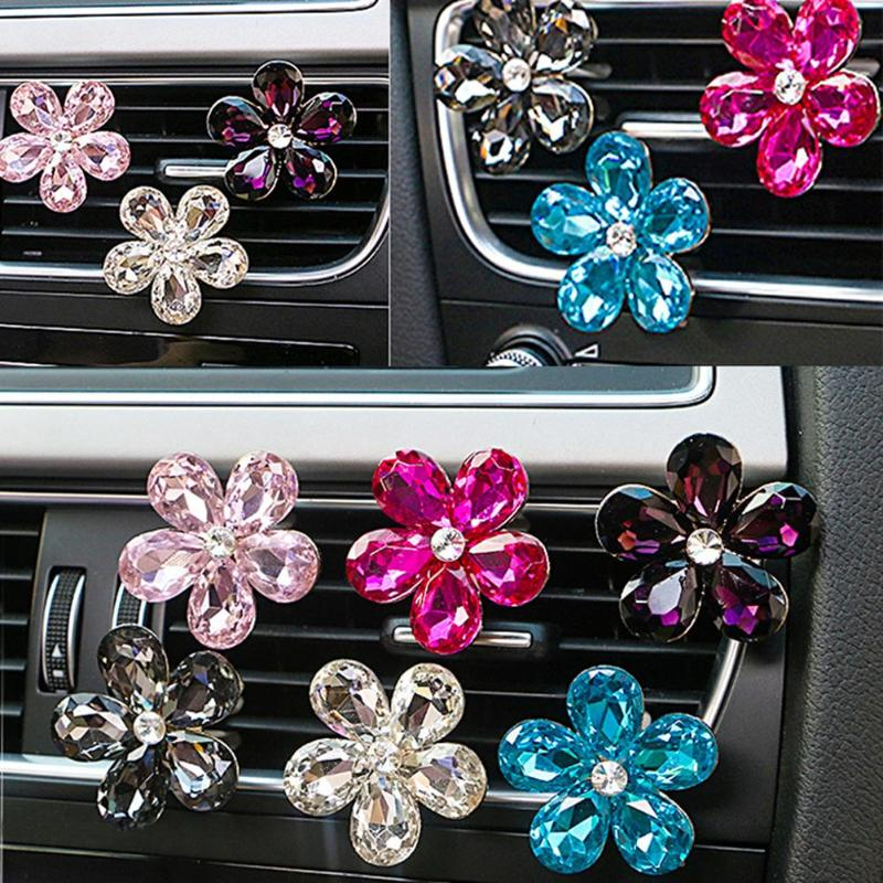 VODOOL Car Interior Accessories Automobile Air Conditioner Outlet Crystal Flower Decor Car Ornaments Vent Perfume Decoration