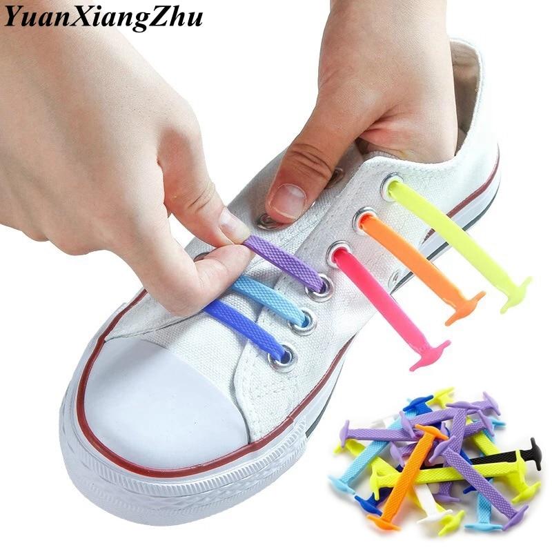 16pcs/lot Elastic No Tie Shoelaces Silicone Shoelaces Elastic Shoelace Creative Lazy Silicone Laces Rubber Shoelace L12/L13