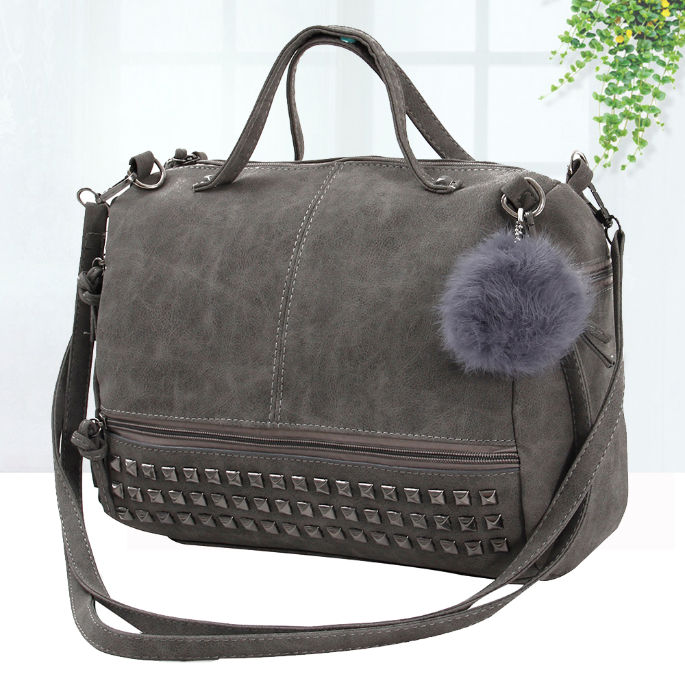 Vintage Nubuck Leather Ladies Handbags Rivet Larger Women Bags Hair Ball Shoulder Bag Motorcycle Messenger Bag Top-Handle Bag 1