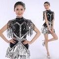 2016 новый современный танец костюм взрослой моды блестки ночной клуб джаз танцевальные костюмы этап женская юбка женский костюм певица шоу