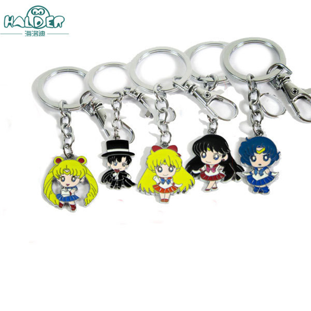 Lower Price with Anime Pretty Soldier Sailor Moon Keychain Chiba Mamoru Hino Rei Mizuno Ami Cute Funny Cartoon Pendant Metal Keytings Porte Clefs Key Chains