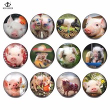 RoyalBeier 12pcs/lot Cute Pig Snap Button China Panda Glass Charms 18mm Snap Button For Snap Bracelet Necklace DIY Jewelry 20pcs 50pcs lot kcd4 31 25mm 4pin 16a 250v snap in dpst on off position snap boat rocker switch copper feet
