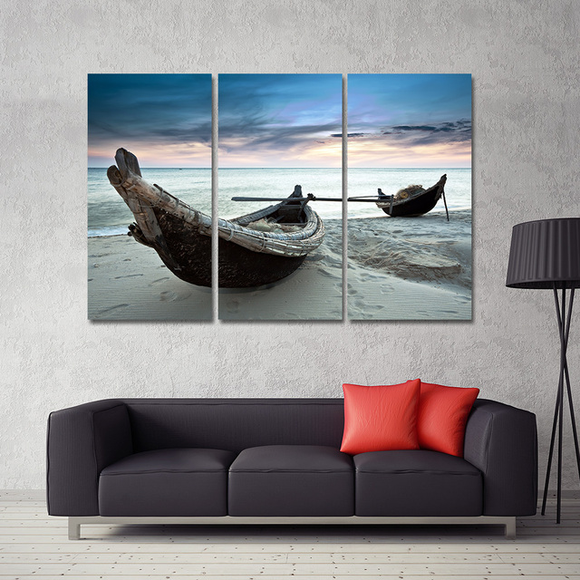 Dropshipping Oil Painting Canvas Beach Landscape Boat Wall Art Home Decor Modern Wall Picture