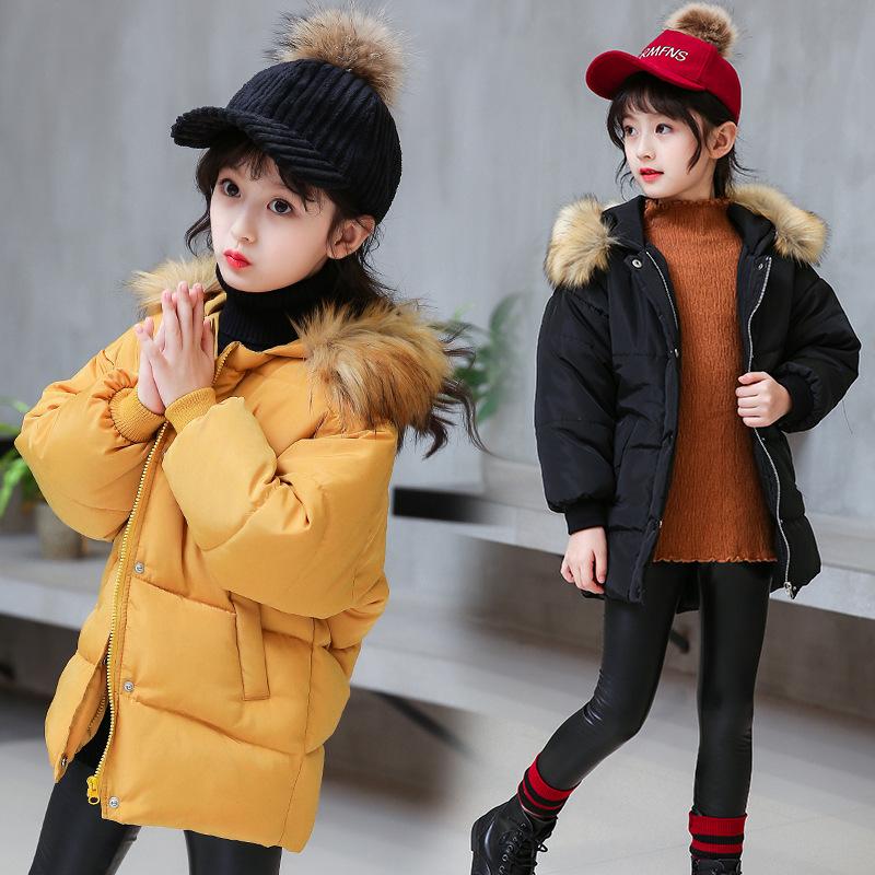 2018 New Children Girls Winter Coat Parkas Wadded Jacket Fashion Big Fur Collar Cotton Jackets Outerwear 110-160 Color Black