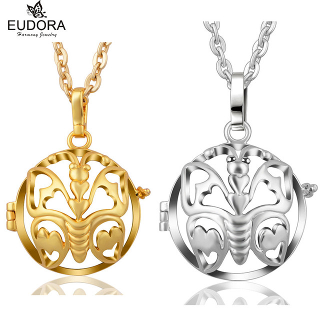 Eudora harmony ball lovely butterfly bola pendant locket cage eudora harmony ball lovely butterfly bola pendant locket cage necklace for chime ball pendants for pregnant aloadofball Image collections