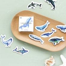 Office School Supplies - Stationery Sticker - 45 Pcs/box Kawaii Ocean Whale Paper Sticker Decoration DIY Diary Scrapbooking Sticker Children's Favorite Stationery