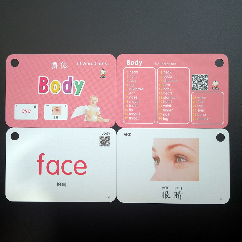 32 Pcs/Set Family People And Body Learn English Chinese Word Flash Cards Pocket Card For Children Gifts