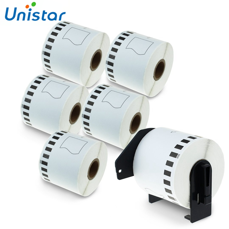 Unistar 6 Rolls compatible for DK-22205 Paper Tape Labels Black on White 62mm x 30.48m with Refillable Cartridge DK2205 DK22205Unistar 6 Rolls compatible for DK-22205 Paper Tape Labels Black on White 62mm x 30.48m with Refillable Cartridge DK2205 DK22205