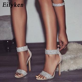 9b1610696 Eilyken/2019 новые женские туфли-лодочки со стразами, модные свадебные  женские туфли на молнии, женские босоножки на тонком каблуке, абрикосовый, .