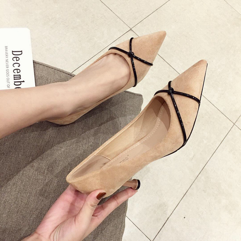 Pointed Toe Fine Nude Heels Black Pumps Women Shoes Elegant simple Sexy Thin Straps Party High Heels Ladies Pumps Wedding Shoes in Women 39 s Pumps from Shoes