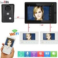 SmartYIBA فيديو إنترفون 7 بوصة LCD Wifi هاتف فيديو لاسلكي للباب نظام الاتصال الداخلي بجرس الباب 1 كاميرا 3 نظام مراقبة تطبيق لنظام أندرويد وIOS-في هاتف داخلي بالفيديو من الأمن والحماية على