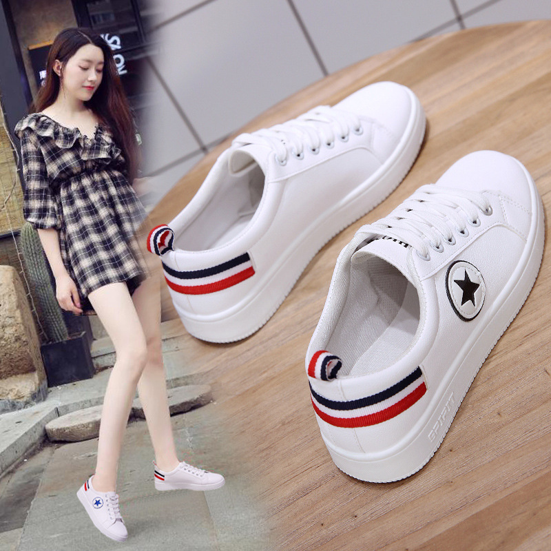 Women Sneakers Fashion Breathable PU Leather Platform White Shoes Woman zapatos de mujer Soft Footwears