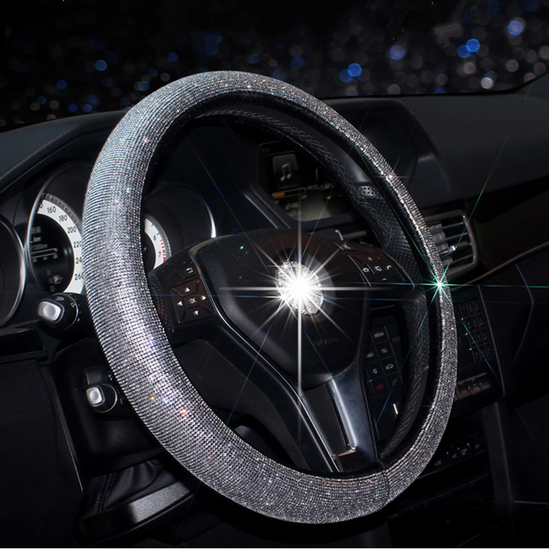 Luxury Crystal Car Steering Wheel Covers for Women Ladies Girls Leather Rhinestone covered Steering-Wheel Interior Accessories