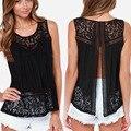 Verano tops O-cuello de Blusas de Las Mujeres hueco-hacia fuera sólido blanco negro Lace Top sin mangas Blusas Blusa Feminina