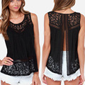 summer tops O-neck Women Blouses hollow-out  solid white black Lace Top sleeveless Blusas Blusa Feminina