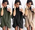 Plus Size 2017 Autumn Winter Women Coat Tops Large Size Fashion Casual Loose Long-Sleeved Sweater Irregular high-neck Sweater