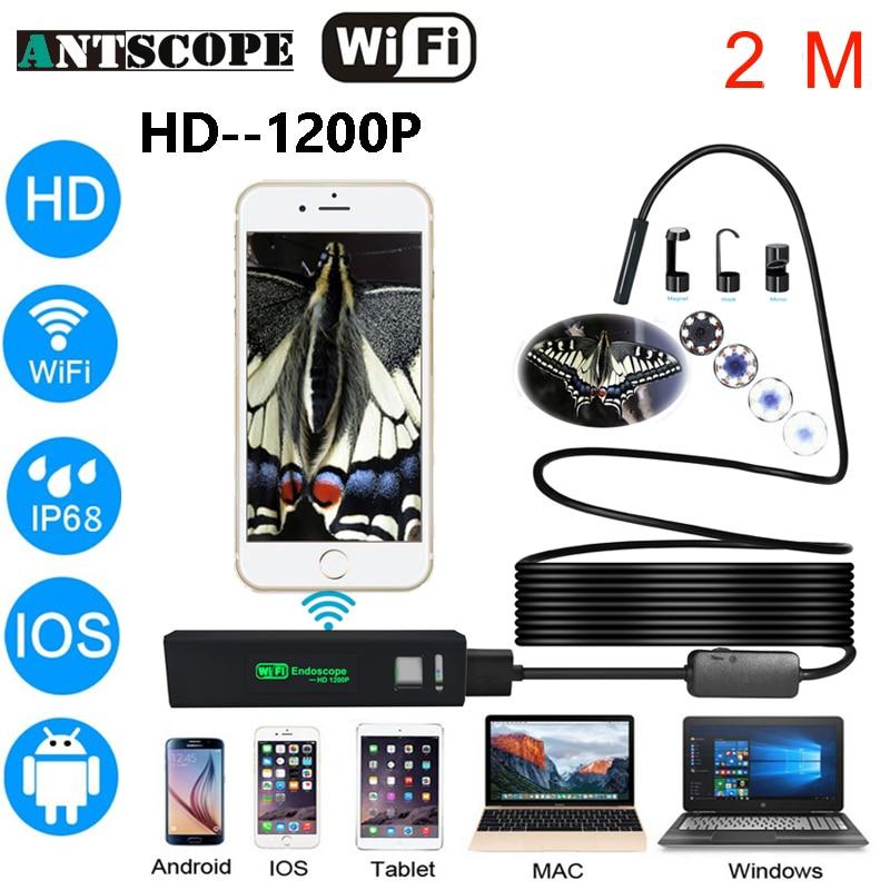 Antscope Wifi 8mm Endoscope 2M Hardwire Waterproof 1200P Android iOS Endoscope Camera Inspection boroscopio 19