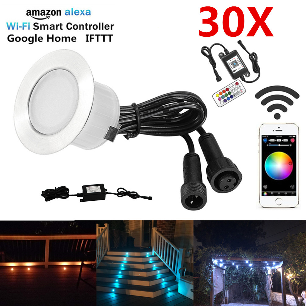 30PCS lot WIFI Controlled Timer 45mm 12V RGB RGBW Yard Terrace LED Deck Stair Soffit Step