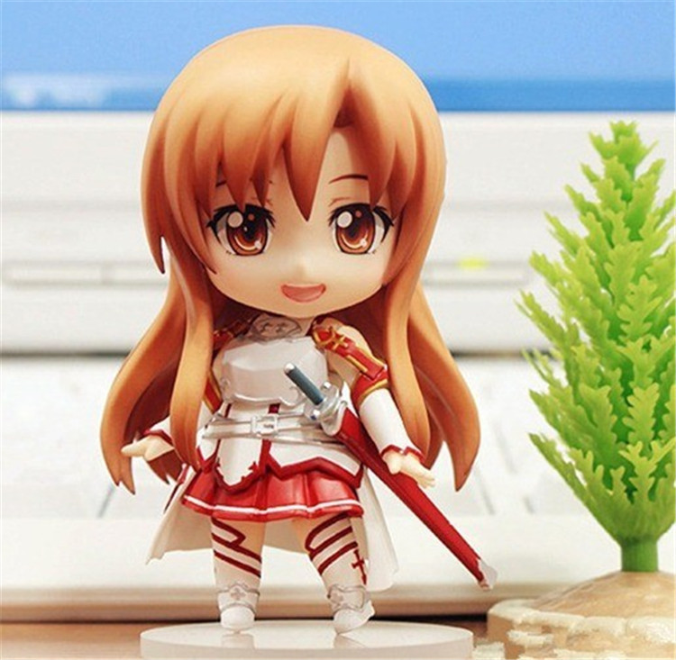 High Quality Brinquedos Cute Nendoroid Anime Sword Art Online Asuna PVC Action Figure Collectible Toy For Kids Free Shipping 2017 hot japanese anime sword art online asuna figma pvc action figure yuuki collectible model toy 14cm cute girls rt056