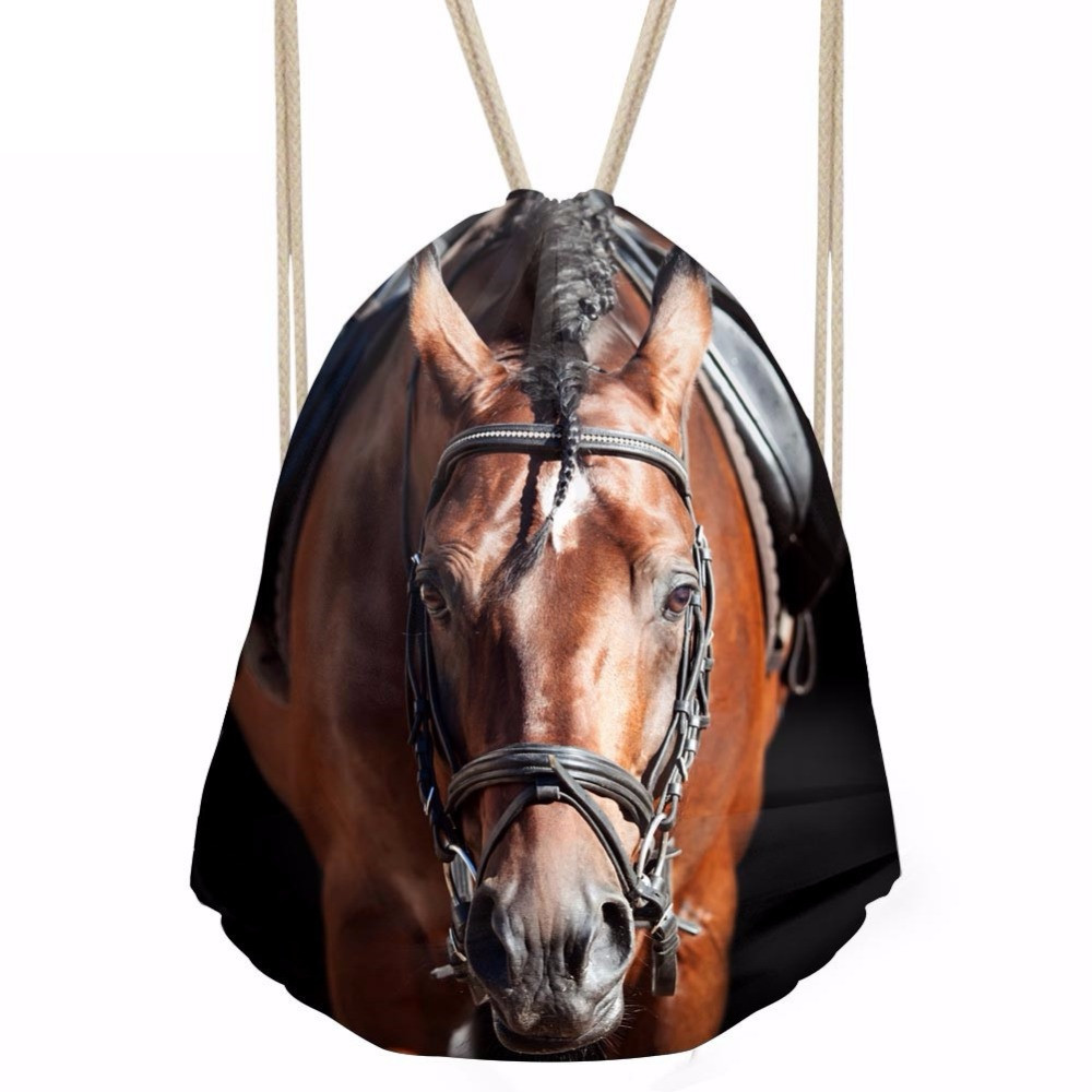 3D Animal Crazy Horse Printed Women Men Drawstrings Bags Softback Storage Bags For Teen Girls Punch Pocket BackpacksSumka