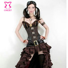 Black Jacquard and Leather Steel Boned Underbust Corset Steampunk Clothing Korsett For Women Sexy Gothic Corsets and Bustier