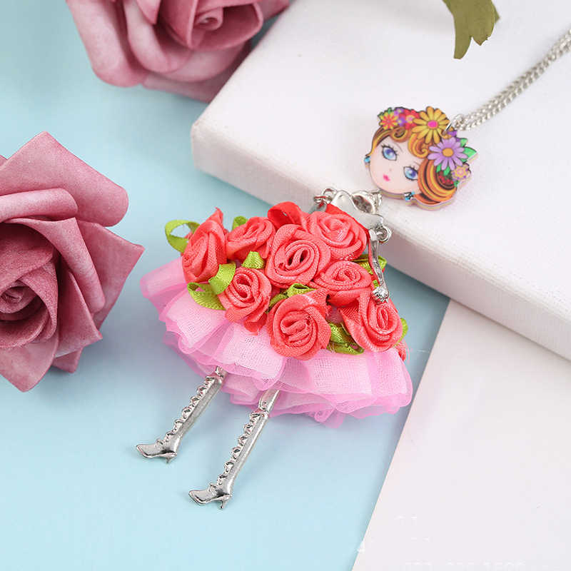 2019Hot sale Statement Flower Doll Necklace Dress Handmade French Doll Pendant News Alloy Girl Women Flower Fashion Jewelry Gift