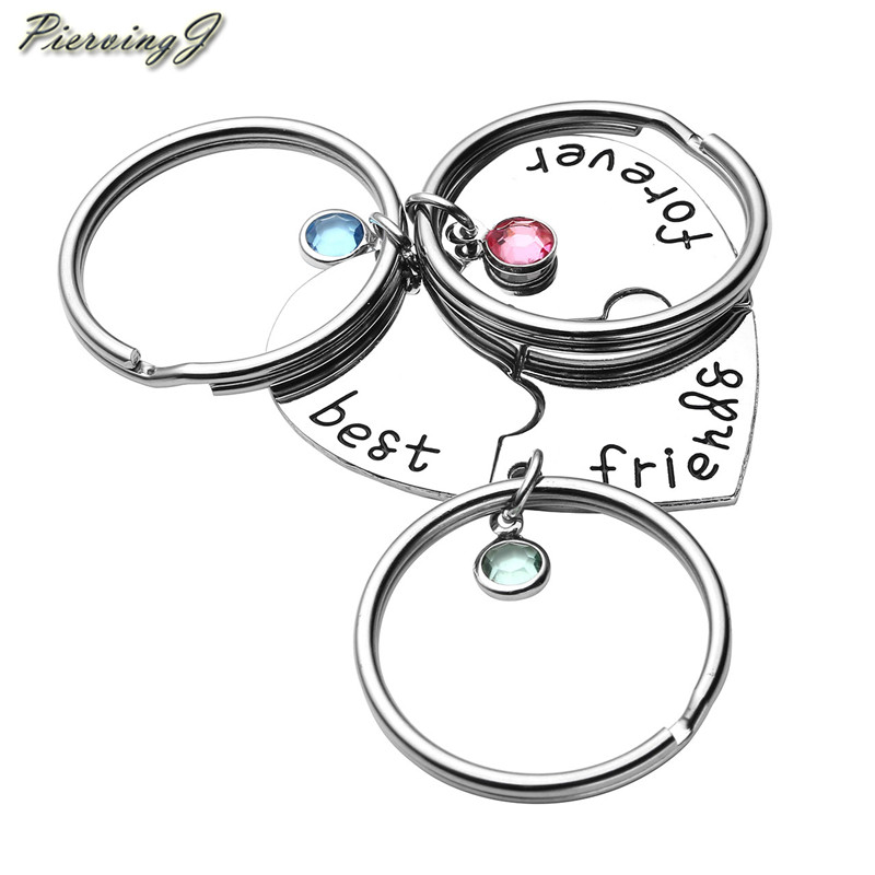 Silver Best Friends BFF Charm Puzzle Pendant  Keyring Keyfob Keychain Gifts Xmas