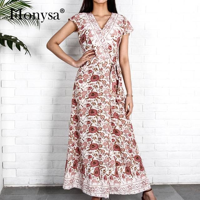 0fddadd0687a6 US $16.99 30% OFF|Aliexpress.com : Buy Bohemian Dresses Women 2019 Summer  Short Sleeve V Neck Casual Chiffon Floral Dress Ladies Boho Beach Wrap Maxi  ...