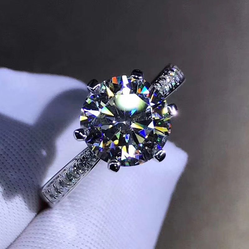 Bague en argent sterling 925 1ct 2ct 3ct style classique bague Moissanite diamant bijoux d'anniversaire de mariage avec certificat GRA - 5
