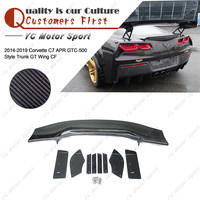 Car Accessories Carbon Fiber Rear Spoiler Fit For 2014 2019 Corvette C7 AP GTC 500 Style Trunk GT Wing Spoiler
