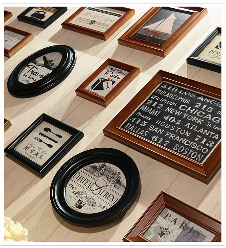 Retro 16pcs Lot 5 6 7 10 Inch Wall Hanging Photo Frame Wooden Picture Rahmen Art Home Decor Family Photos Al Marco
