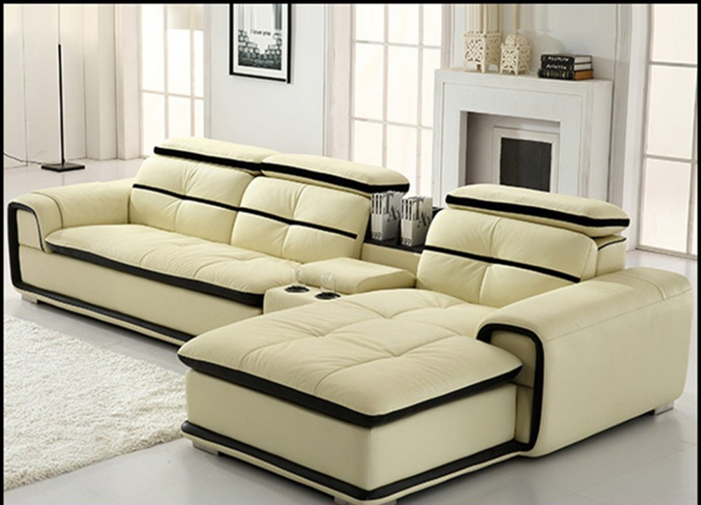 big house light yellow leather corner sofa design 8098#-in ...