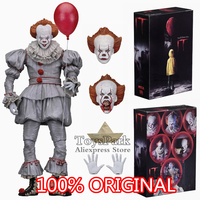 100% ORIGINAL 2018 NECA 7 Scale IT Ultimate Pennywise 2017 Movie Action Figure Reel Toys Red Balloon Doll Model Collectible NEW