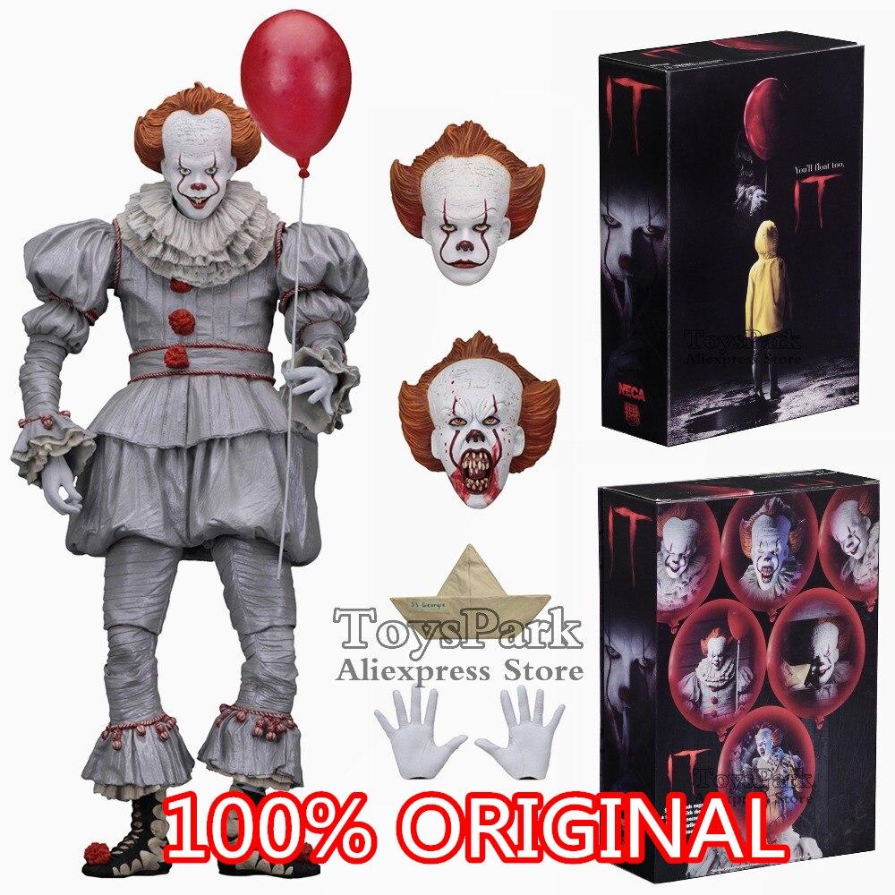 2017 ORIGINAL 2018 NECA 7 escala IT Ultimate Pennywise 100% película acción figura carrete juguetes Globo Rojo muñeca modelo coleccionable nuevo