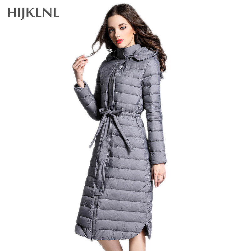 HIJKLNL Slim Thin   Down   Jacket Overcoat 2019 New Women Winter Hooded Waist-tie Long Duck   Down     Coat   Parkas Woman's   Coat   LH1151