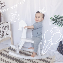 INS Wooden Photography Props for Kids Studio Photo Accessories Solid Wood Rocking Chair Seat Baby Shoot Posing